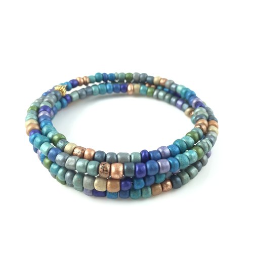 """Ethnic looped bracelet - purple orange green blue and gray comprehensive color '"