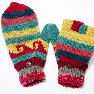 Valentine's Day gift limit a hand-woven pure wool knit gloves / detachable gloves - Fair Isle totem