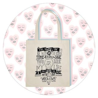 "BatearsWorld hand-painted handprint ""To, my love"" Valentine's Day limited / shoulder bag"