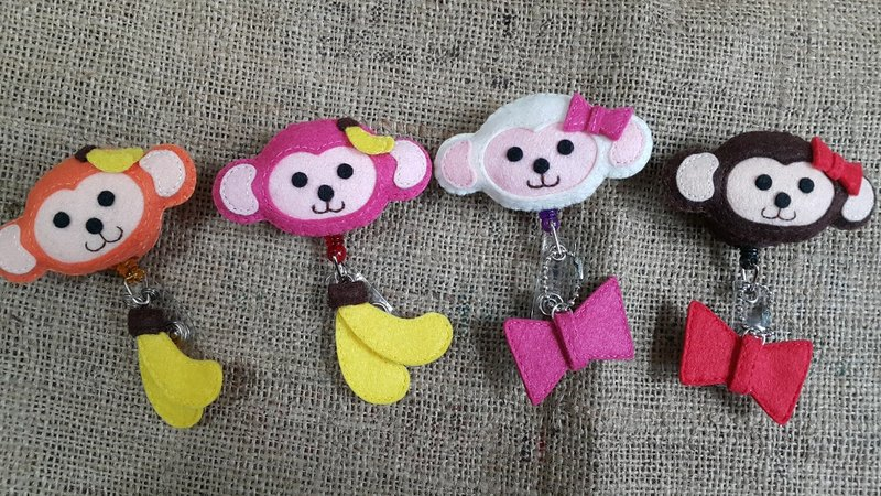 Mini bear hand made cute の mischievous small Q monkey telescopic pull ring