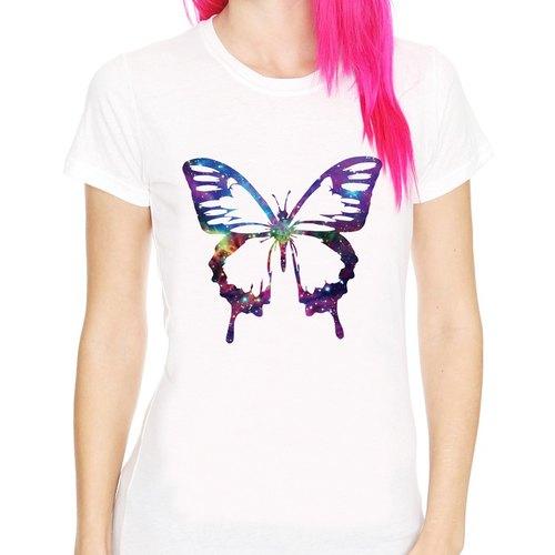 Cosmic Butterfly Girls T Shirt Milky White Butterfly