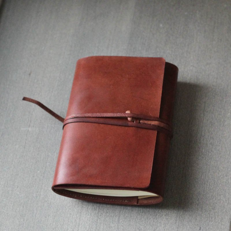 dark brown refillable leather journal notebook book cover a6