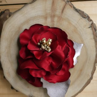 [Black mage] dark red satin fabric flower corsage paragraph