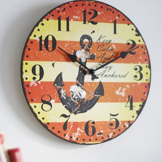 "10.5"" Wood Wall Clock- Nautical Style"