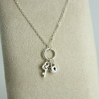 Silver Necklace - Key ring {Lock & Key / 925 Sterling Silver}