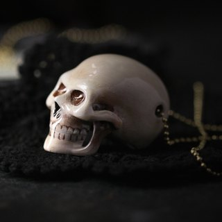 Big Human Skull Long Back Head Charm Necklace - Painted Version by Defy / Handcrafted Jewelry