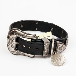 Ella Wang Design metal carved medallion Leather Collar - Black pet collar