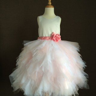 White Satin Ball Gown with Pink Netting Skirt