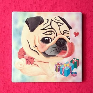 Pug ceramic absorbent coaster-The Best Gift!