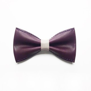 Purple bow tie Bowtie with gray leather belt