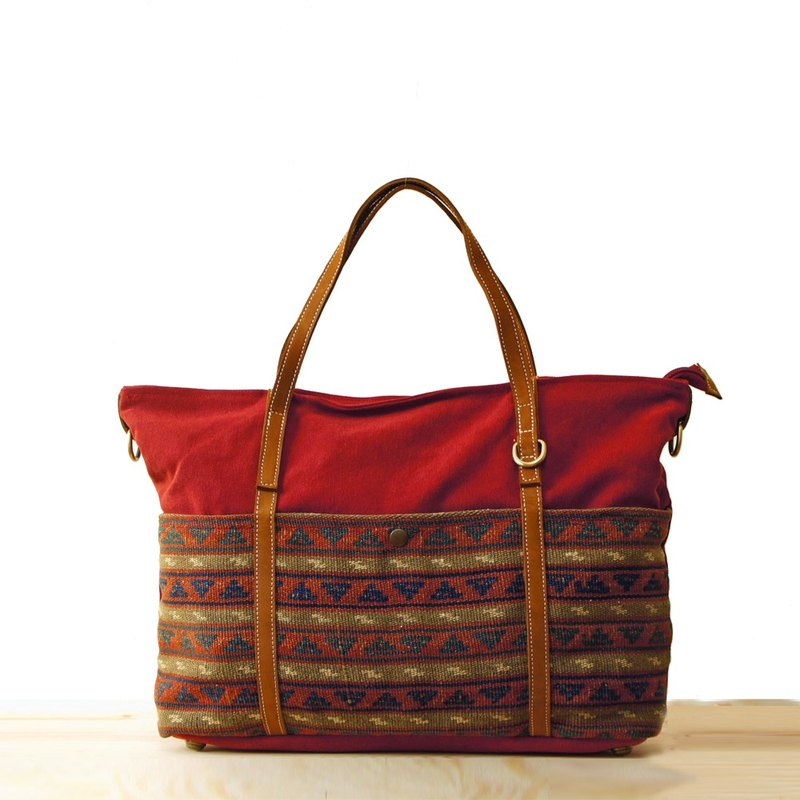[Happa] generous canvas tote bag - Hand knotted kilim paragraph (Wine Red Wine)