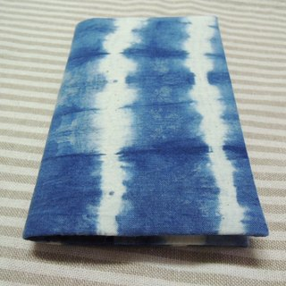 Mumu [vegetation] blue dye stained passport holder (striped paragraph)