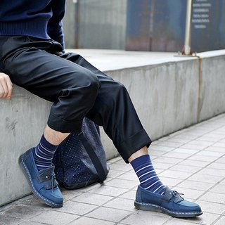Organic Cotton Socks - Striped Series Cassava Dark Blue Gray Striped Mid-Socks (Men/Female)