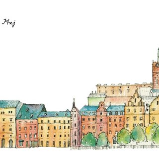 Hand-painted postcard Stockholm's Old Town gamla stan panorama three ㄧ web