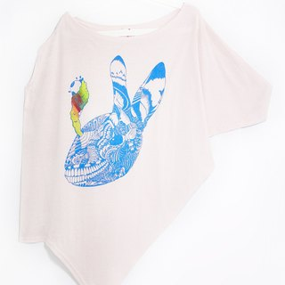 Women feel Asymmetric Cotton Top - hand sense of the explosion of rabbits (Pink)