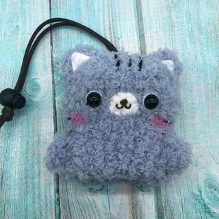 Marshmallow Animal Key Bag - Small Key Bag (Gray Cat)