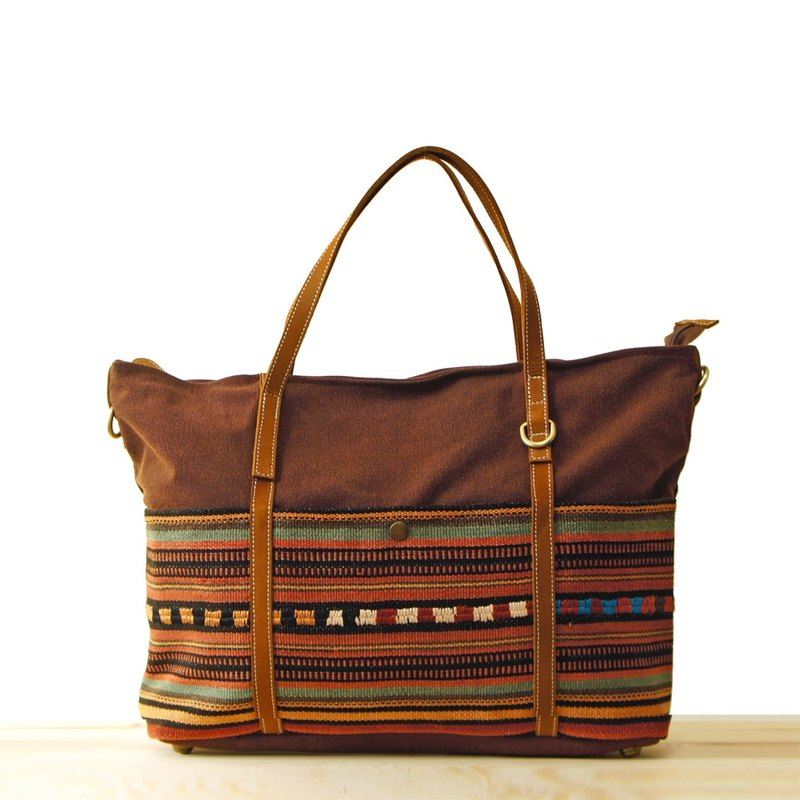 [Happa] generous canvas tote bag - hand-knotted kilim paragraph (Brown earth brown) autumn outing necessary