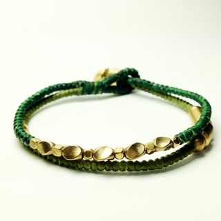 Green light forest. Double series. Waxed brass bracelet