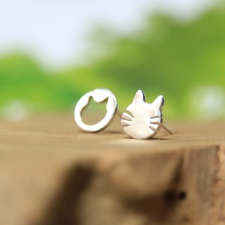 Sterling Silver  Stud Earrings / Cat & Meow / Asymmetric