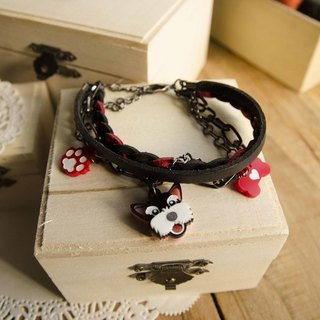 ❅ child Schnauzer ❅ black and red hair braided rope bracelet with multi-level