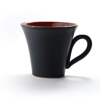 Evening twilight black glaze painted red mug