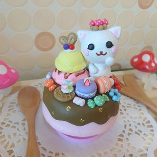 Clay kitty gift ‧ ‧ Music Box macarons candy ice cream donuts