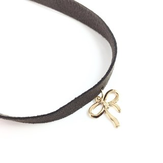 """Golden Bow - Wide brown suede necklace"""
