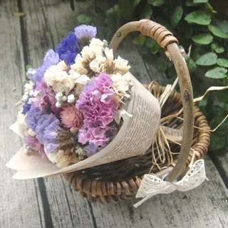 Masako cute wind dry flower mini rattan basket small bouquet (including rattan basket)