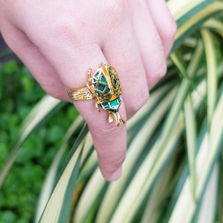 Glorikami Clear Green Rhino Beetle Ring