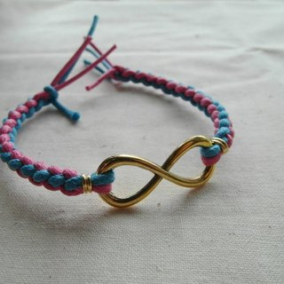 ~ M + Bear ~ Love Unlimited Love Unlimited, 8 wax rope braided bracelet (gold blue powder)
