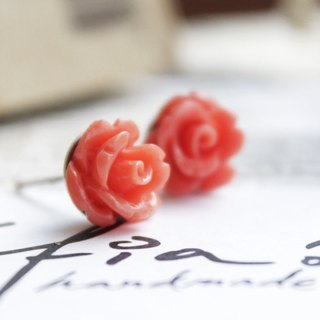 [Earring] Warm Rose-berry red