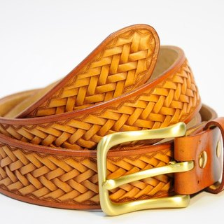 [Mini5] hand-carved woven belt (brown side)