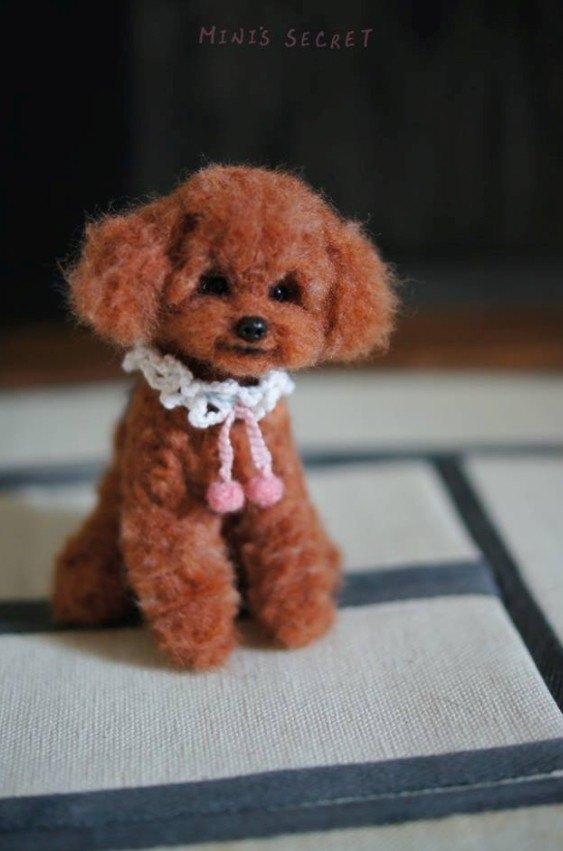 mini s secret wool felt custom engraved dog realistic high red