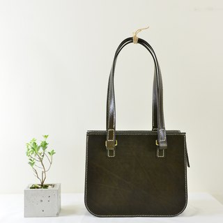 """MY HAND'S leather craft"" - Tote bag (31CMX25CM) - handmade leather goods - dark green"