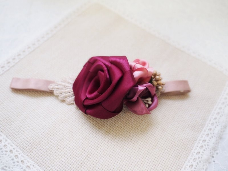 Handmade Red ribbon rose elastic baby/kid headband