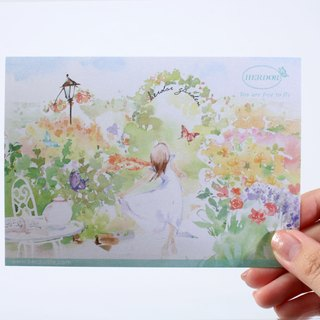 HERDOR card / cool card / hand-painted postcard - garden country, romantic afternoon tea series (four models)