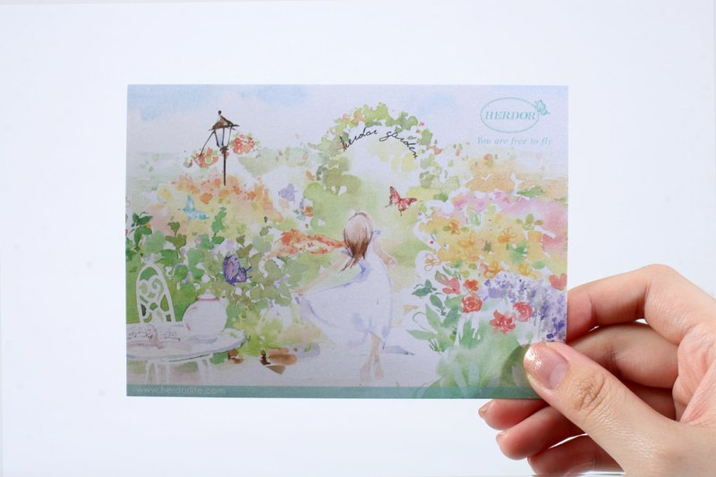 [15% off for spring enjoyment] HERDOR card / cool card / hand-painted postcard-garden country, romantic afternoon tea (