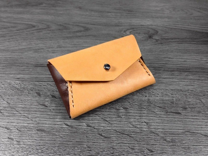 MICO hand-stitched leather envelope small wallet (light tea spell tea)