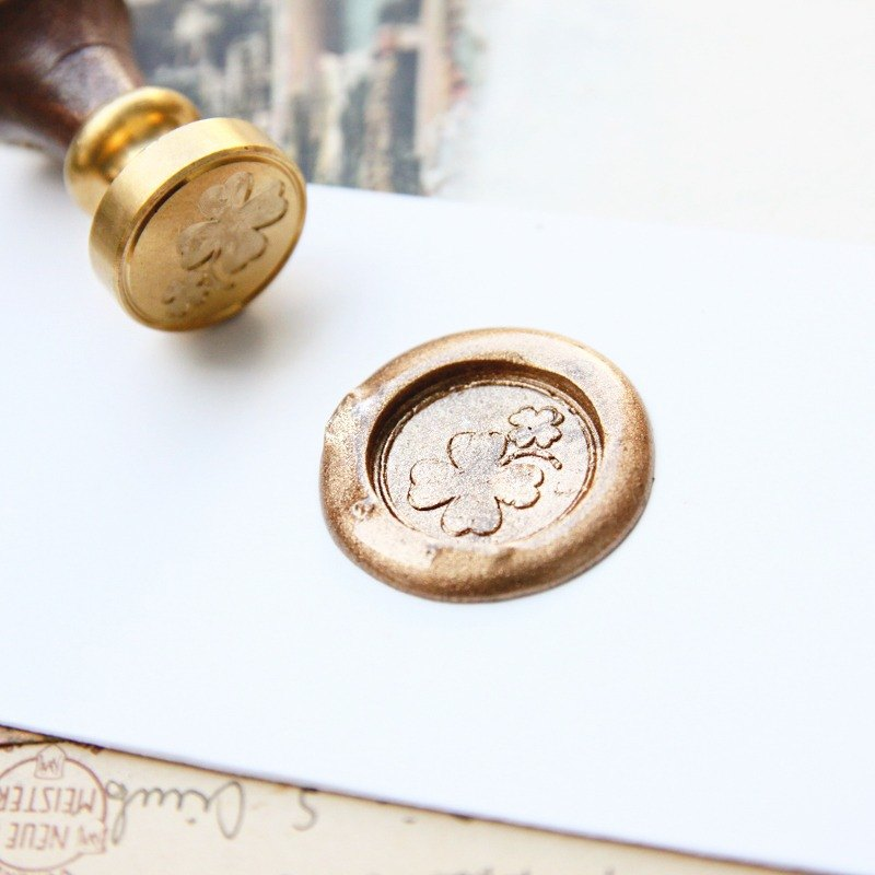 Sealing Wax Stamp Set w/a wax- Four-Leaved Clover