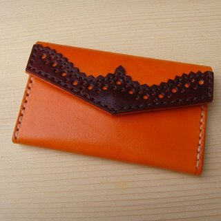 ISSIS - Leather Hand Sewn Classical Oxford Carved Business Card Holder - Orange Brown