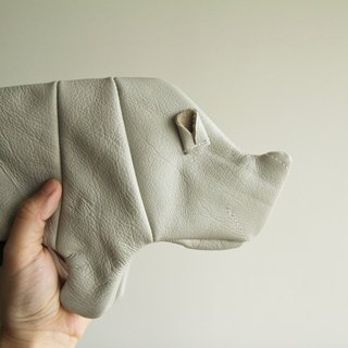 +zoom- sofa leather rhinoceros styling pencil case, storage bag, cosmetic bag - leather - light gray