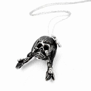 Zodiac pendant Virgin skull for Virgo in white bronze and oxidized antique color ,Rocker jewelry ,Skull jewelry,Biker jewelry