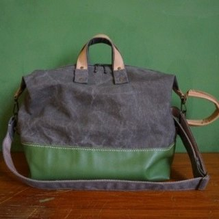 Canvas + leather compartment travel bag C (color missing color optional)
