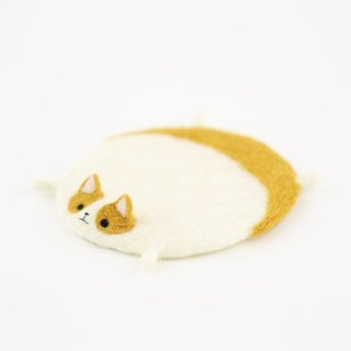 Flattened corgi dog wool felting coaster