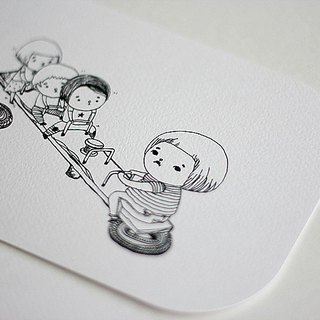 [B & W] Department ∙ large rounded postcard sad fat seesaw is located