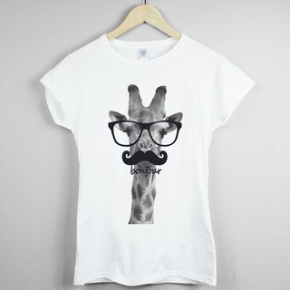 Giraffe-bonjour girls T-shirt -2 color giraffe Hello France green paper glasses beard animal art design fashion fashionable word