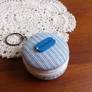 Chomii. Macaron CHARM zipper purse jewelry box blue stripes