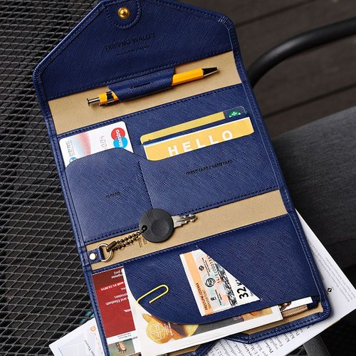 Dessin x PLEPIC - Revolutionary Road tri-fold wallet passport - navy blue, POJ91729
