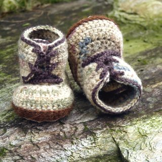 Handmade knit baby shoes ~ handsome Boots (m Green)