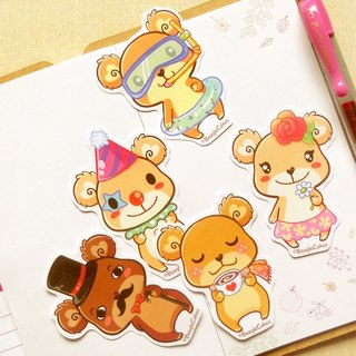 Cute Bear Stickers (5 Pieces) - Scrapbooking Stickers - Stickers for Planner
